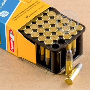 rounds of .22 Long Rifle ammo with Lead Round Nose (LRN) bullets made by Aguila.