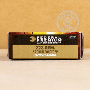 Image of the 223 REM FEDERAL LE TACTICAL 55 GRAIN BONDED SP (20 ROUNDS) available at AmmoMan.com.