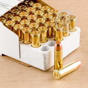 A photograph detailing the 38 Special ammo with FMJ bullets made by Winchester.