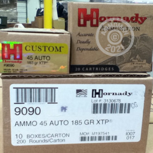 An image of .45 Automatic ammo made by Hornady at AmmoMan.com.
