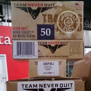 An image of .380 Auto ammo made by Team Never Quit at AmmoMan.com.