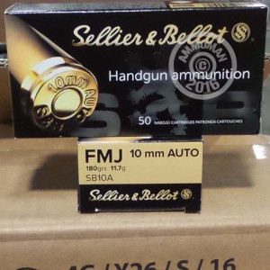 50 rounds of 10mm auto 180 grain sellier bellot fmj ammo at. Black Bedroom Furniture Sets. Home Design Ideas