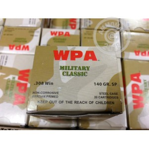 Image of 308 / 7.62x51 ammo by Wolf that's ideal for hunting wild pigs, training at the range, whitetail hunting.