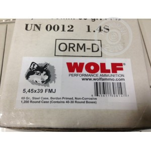 An image of bulk 5.45 x 39 Russian ammo made by Wolf at AmmoMan.com.