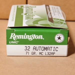 Image of .32 ACP ammo by Remington that's ideal for training at the range.