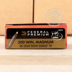 A photograph detailing the 300 Winchester Magnum ammo with Trophy Bonded Tip bullets made by Federal.