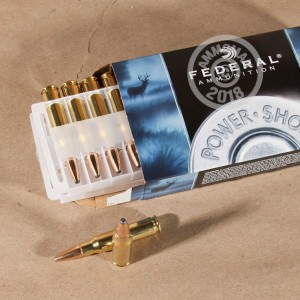 Image of 308 / 7.62x51 ammo by Federal that's ideal for big game hunting, hunting wild pigs, whitetail hunting.