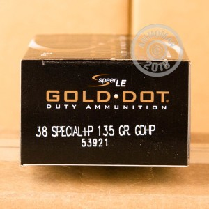 Image of 38 Special ammo by Speer that's ideal for home protection.