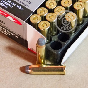 A photograph detailing the 357 Magnum ammo with Semi-Jacketed Soft-Point (SJSP) bullets made by Aguila.