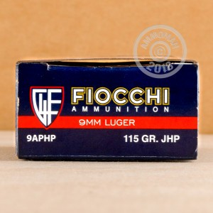 Photo of 9mm Luger JHP ammo by Fiocchi for sale at AmmoMan.com.