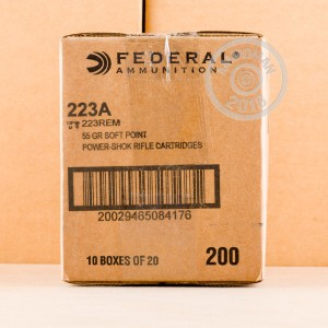 A photograph of 20 rounds of 55 grain 223 Remington ammo with a soft point bullet for sale.