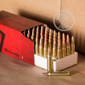 A photograph detailing the 223 Remington ammo with FMJ bullets made by Hornady.