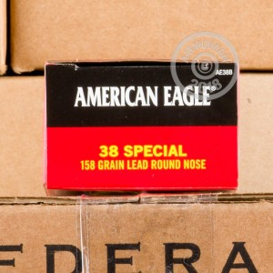 A photograph of 1000 rounds of 158 grain 38 Special ammo with a Lead Round Nose (LRN) bullet for sale.