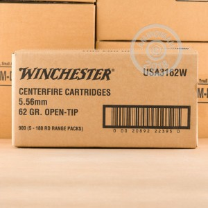 Photograph showing detail of 5.56x45mm - 62 gr Open Tip - Winchester USA - 900 Rounds