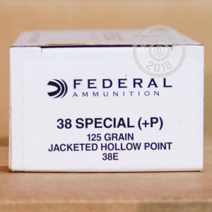 A photograph detailing the 38 Special ammo with JHP bullets made by Federal.