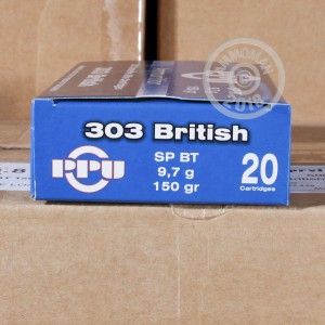 A photograph of 20 rounds of 150 grain 303 British ammo with a soft point bullet for sale.