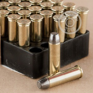 A photograph of 50 rounds of 158 grain 357 Magnum ammo with a Lead Flat Nose bullet for sale.