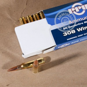 A photograph detailing the 308 / 7.62x51 ammo with FMJ-BT bullets made by Prvi Partizan.