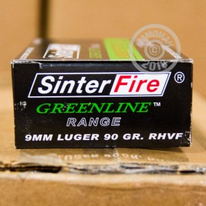 A photograph detailing the 9mm Luger ammo with frangible bullets made by SinterFire.