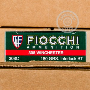 A photograph detailing the 308 / 7.62x51 ammo with Soft-Point Boat Tail (SP-BT) bullets made by Fiocchi.