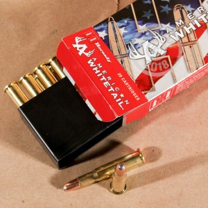 A photograph detailing the 30-30 Winchester ammo with Round Nose bullets made by Hornady.
