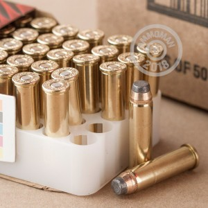 A photograph detailing the 357 Magnum ammo with Jacketed Soft-Point (JSP) bullets made by Federal.