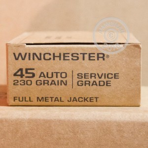 Image of .45 Automatic ammo by Winchester that's ideal for precision shooting, shooting indoors, training at the range.