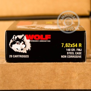 A photograph detailing the 7.62 x 54R ammo with FMJ bullets made by Wolf.