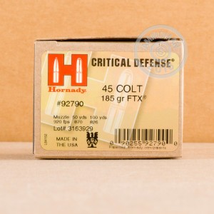 Image of .45 COLT ammo by Hornady that's ideal for home protection.