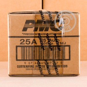 Image of .25 ACP ammo by PMC that's ideal for training at the range.