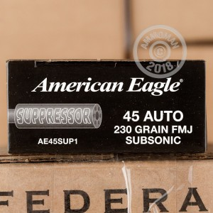 A photograph detailing the .45 Automatic ammo with FMJ bullets made by Federal.