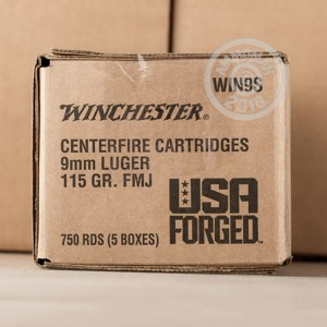 Photo of 9mm Luger FMJ ammo by Winchester for sale.