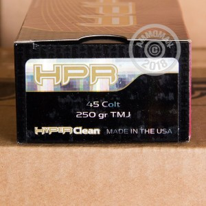 An image of .45 COLT ammo made by HPR at AmmoMan.com.