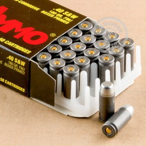 An image of .40 Smith & Wesson ammo made by Tula Cartridge Works at AmmoMan.com.