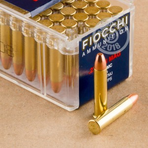 rounds of .22 WMR ammo with TMJ bullets made by Fiocchi.