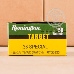 A photograph of 50 rounds of 148 grain 38 Special ammo with a Lead Wadcutter bullet for sale.