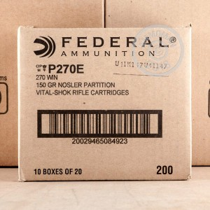 A photograph detailing the 270 Winchester ammo with Nosler Partition bullets made by Federal.