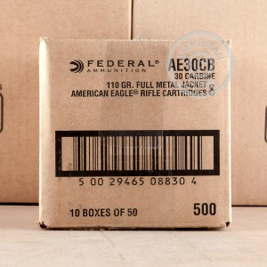 A photograph detailing the .30 Carbine ammo with FMJ bullets made by Federal.