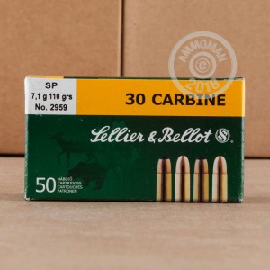 A photograph of 50 rounds of 110 grain .30 Carbine ammo with a soft point bullet for sale.