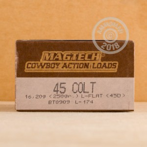 A photograph of 50 rounds of 250 grain .45 COLT ammo with a Lead Flat Nose bullet for sale.