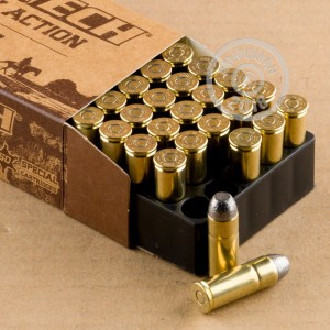 A photograph detailing the .45 COLT ammo with Lead Flat Nose bullets made by Magtech.