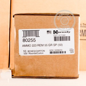 An image of 223 Remington ammo made by Hornady at AmmoMan.com.