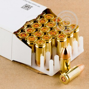 A photograph detailing the 9mm Luger ammo with FMJ bullets made by MEN.