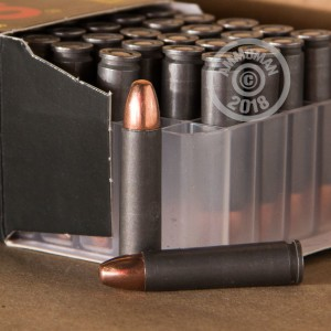 A photograph detailing the .30 Carbine ammo with FMJ bullets made by Tula Cartridge Works.