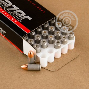 An image of 9mm Luger ammo made by Blazer at AmmoMan.com.