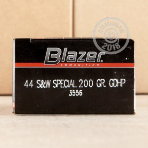 Image of 44 Special ammo by Blazer that's ideal for home protection, training at the range.