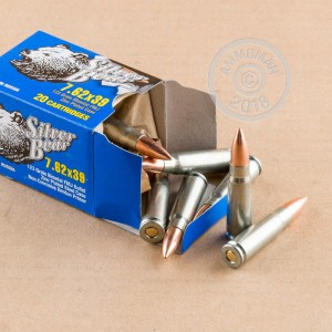 An image of 7.62 x 39 ammo made by Silver Bear at AmmoMan.com.