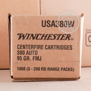 Image of .380 Auto ammo by Winchester that's ideal for training at the range.