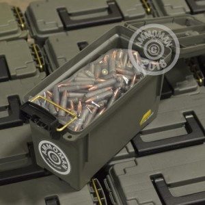 Image detailing the steel case and boxer primers on 750 rounds of Mixed ammunition.