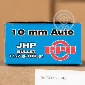 A photograph detailing the 10mm ammo with JHP bullets made by Prvi Partizan.